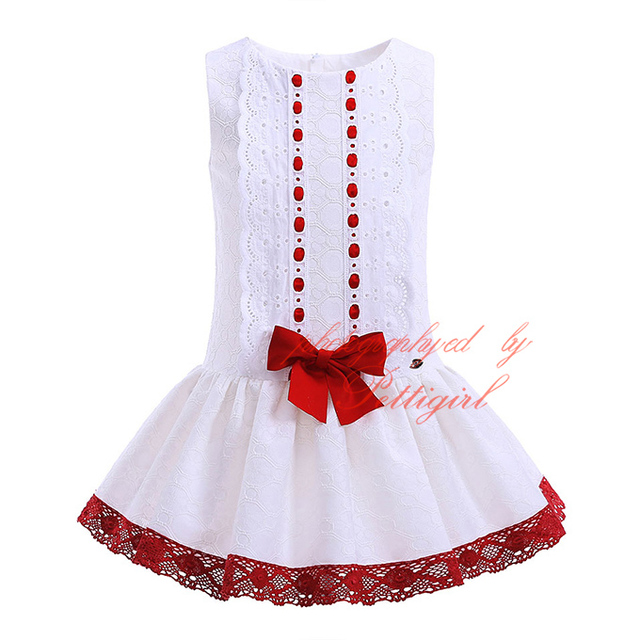 Pettigirl Hot Sale Retail Red Bowknot Decor Girls Dresses Boutique White  Kid Clothing Summer Baby Girl Clothes G-DMGD905-776 5b22b11f1259
