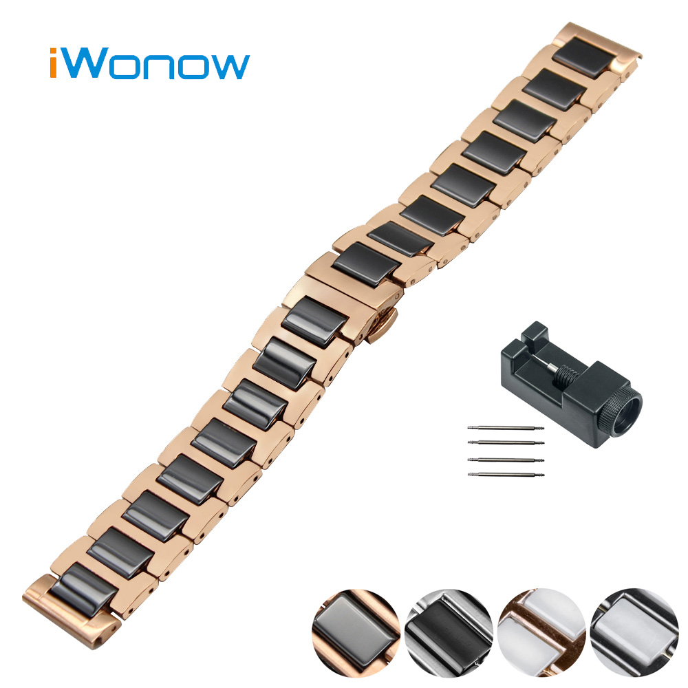 Ceramic Watch Band 22mm for Samsung Gear S3 Classic / Frontier Butterfly Buckle Strap Wrist Belt Bracelet Black + Spring Bar 16mm ceramic watch band for huawei talkband b3 women s butterfly buckle strap wrist belt bracelet black white tool spirng bar