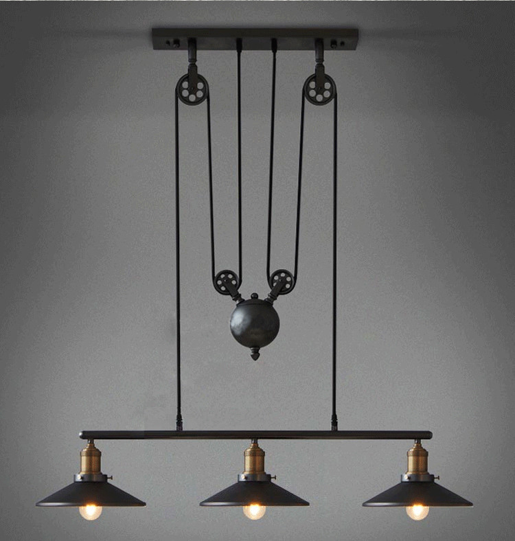 3 Heads Lightings Retro Iron Pulley Pendant Lights Loft American Vintage Rope Antique Edison