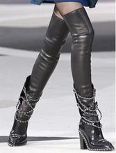 Hot Selling Black Patent Leather Chain Over The Knee Boots Round Toe Thick Chunky Heel Tight High Boots For Women Size 10 hot selling black leather height increasing woman boots round toe knee high boots 2017 winter gold chains wedge boots