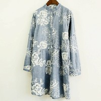 3D Embroidery Stand Collar Long Sleeve Vintage Dress