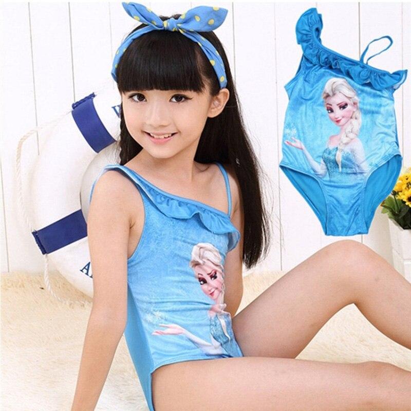 BONJEAN 4-12 Years Children Girls Cartoon Elsa One Piece Swimsuit Kids Girls Cute Blue Swimwear Summer Bathing Suits 2018 New