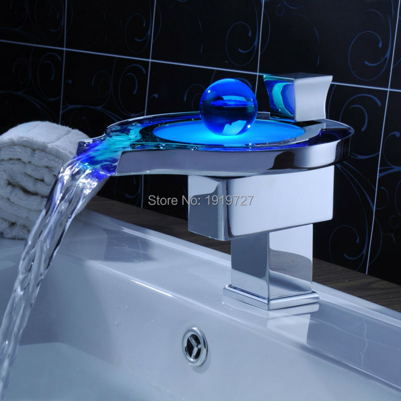 New Design Three Color Temperature Controlled  LED Light Bathroom Waterfall Mixer Tap Single Handle Vessel Sink Basin Faucet 3 color lotus shaped temperature controlled led light faucet top spray shower head