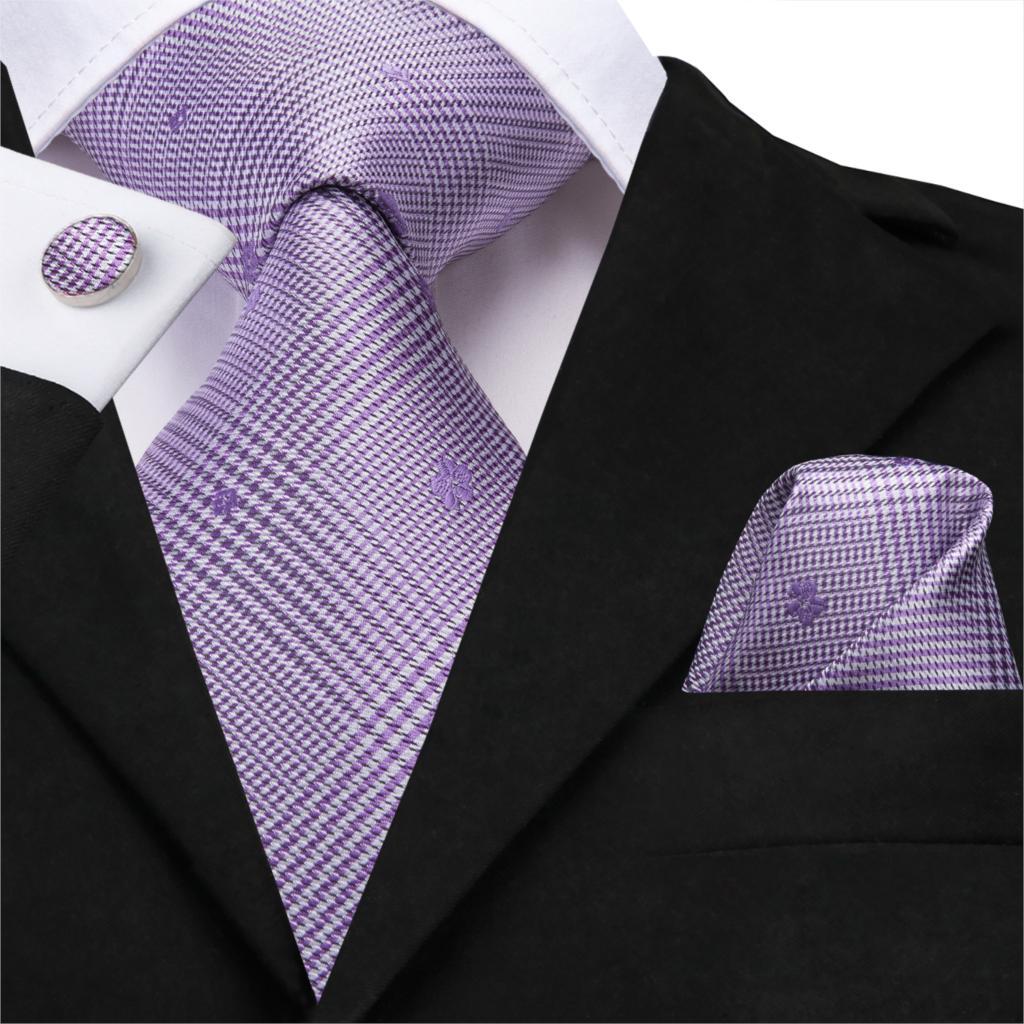 Hi-Tie New Silk Neck Ties For Men Wedding Tie 8.5 Cm Plaid Neckties Jacquard Men Necktie Gravata Dreaming Purple Cravate SN-3218