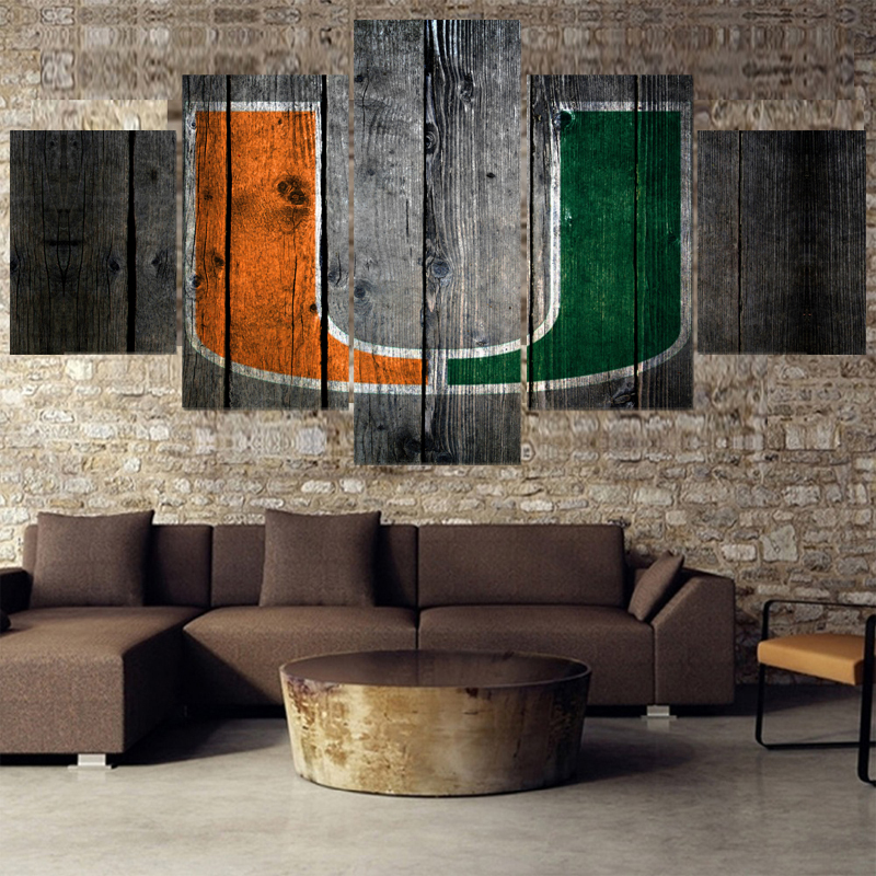University Sport Miami Hurricanes Paintings Modern Home