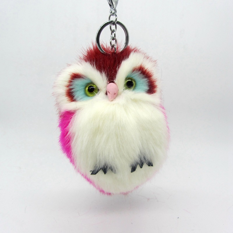 10colors Owl Key Chain Imitation Rabbit Fur Ball Keychain Cute Plush Pom Pom Fur Key Ring For Women Bag Pendant Car Key
