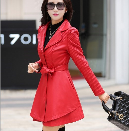 fd204b5599e 2017 Autumn Winter Long Black Red Leather Trench Coat Ladies Plus Size Pu Leather  Jacket Female Slim Fit Outerwear Windbreaker-in Leather   Suede from ...