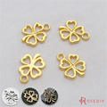 (29345-G)20PCS 14*13MM Gold Color Plated Zinc Alloy Lucky Flower Charms Diy Handmade Jewelry Findings Accessories Wholesale