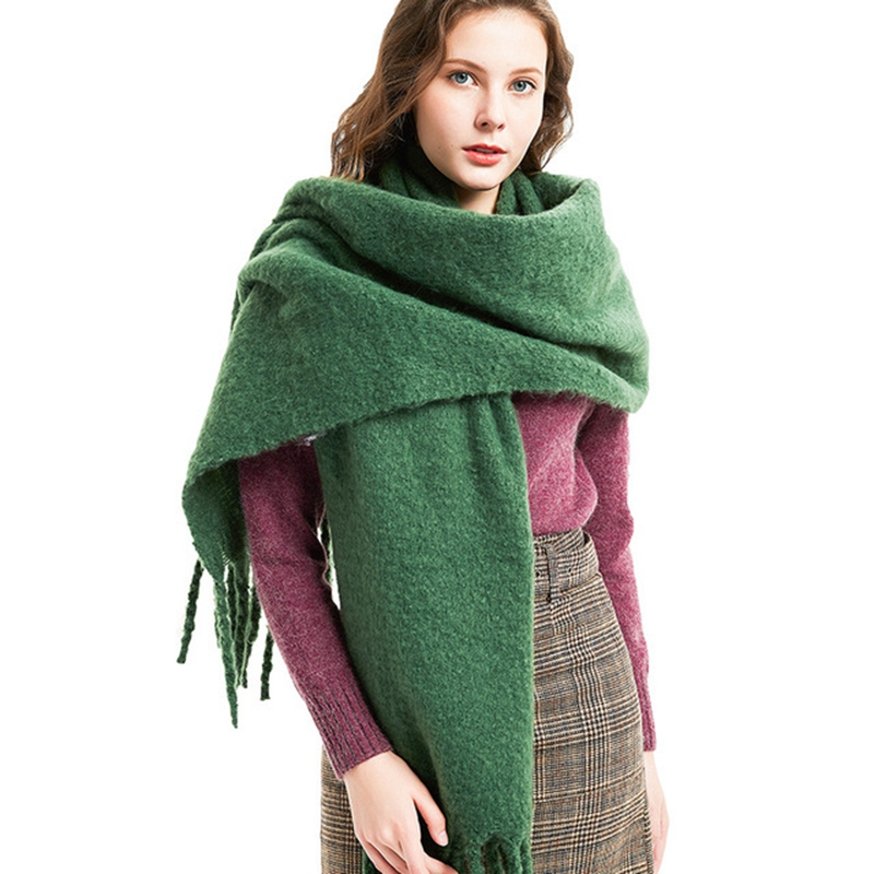 LARRIVED 2019 Autumn/Winter Solid Color Tassel Knitted Cashmere Fashion New Women Duplex Shawl Cardigan Long Thick Poncho Capes