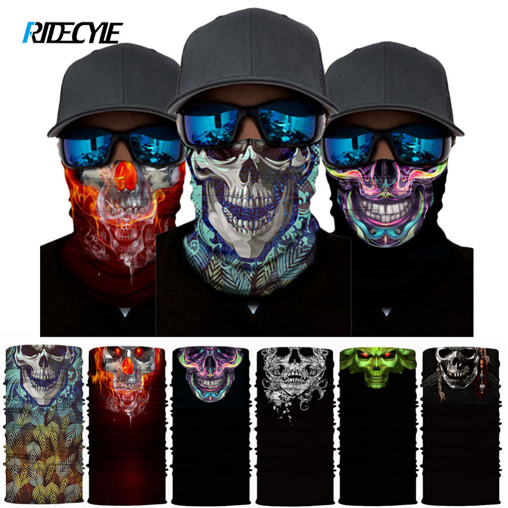 Bicycle Face Mask Accessories Funny Face Shield   Headwear   Cool Skeleton Headband Quick-Drying Moisture Absorbent