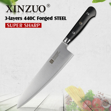 XINZUO 8 inch chef knife 3 layers 440C clad steel kitchen knives G10 handle chef's knife kitchen stainless gyuto knife cutlery