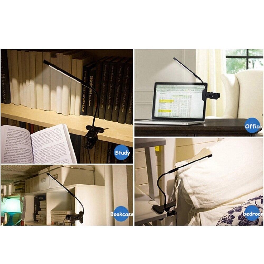 1.3 м сенсорный чувство затемнения гибкая USB LED глаз-care Чтение света регулируемая настольная лампа LED Клип для ноутбука спальня исследование с...