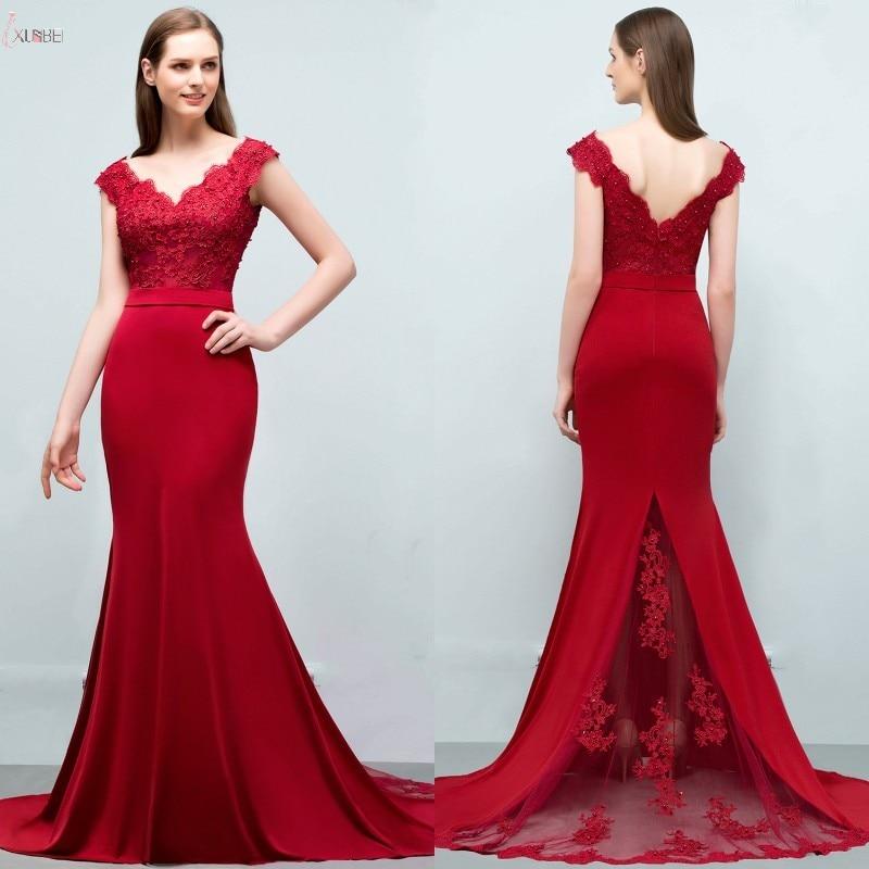 2019 Elegant Burgundy Satin Mermaid Long Bridesmaid Dresses V Neck Applique Pearl Wedding Guest Party Dress vestido madrinha