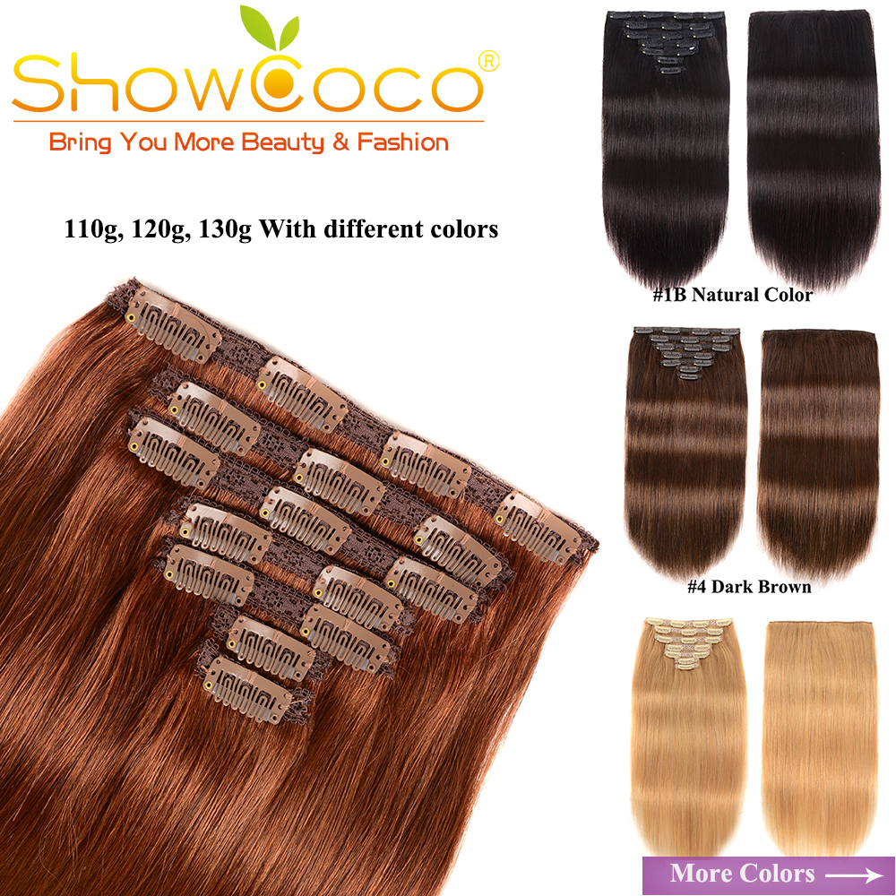 Natural Hair Clip Ins Remy Human Hair Clips Full Head 7 Pieces With Lace 110-130 G Silky Straight Showcoco Clip In Hair