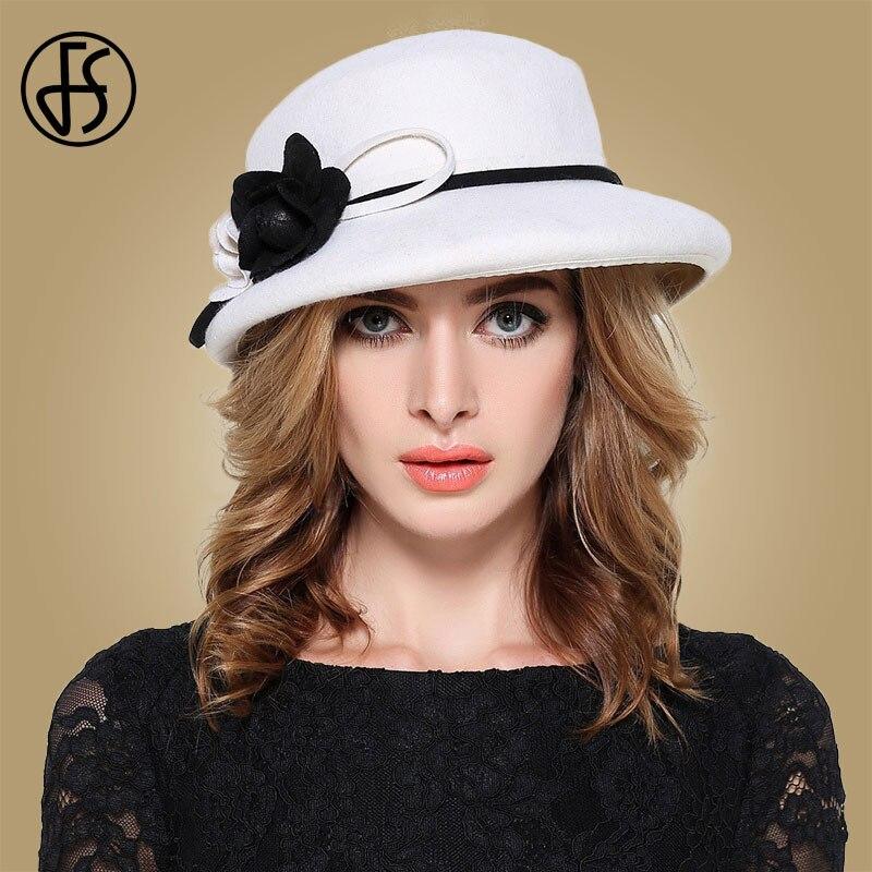 FS Womens Fedora Hats White Wide Elegant Brim Felt Cloche Hat Black Vintage Bowler Fedora Female Floppy Flower Lady Girls Autumn-in Women's Fedoras from Apparel Accessories