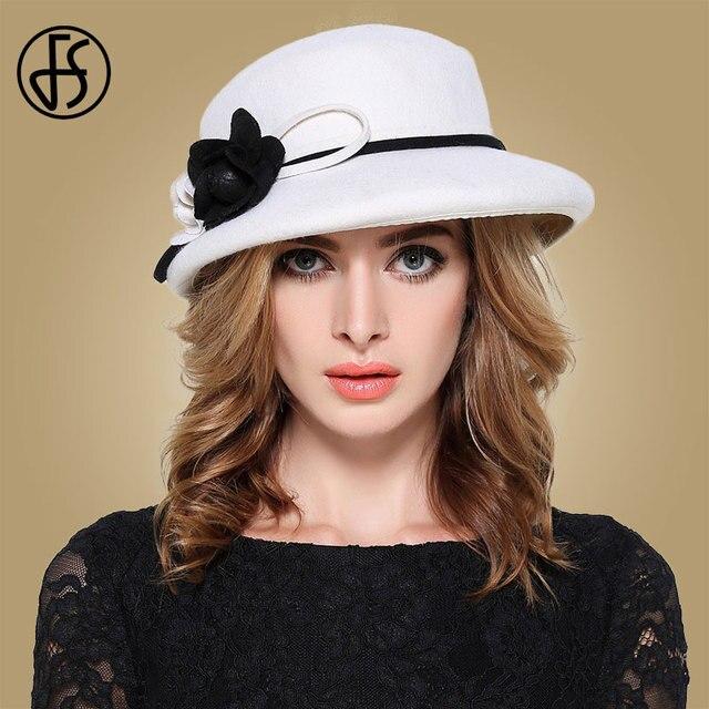 Fs womens fedora chapéus branco largo elegante borda feltro cloche chapéu preto vintage bowler fedora feminino floppy flor senhora meninas outono