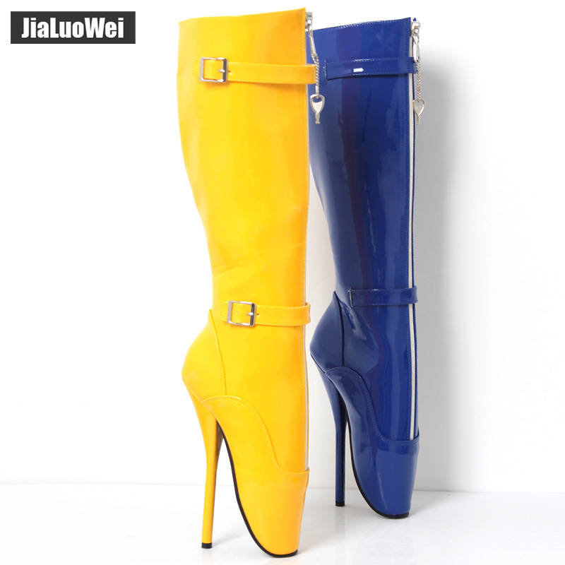 jialuowei 2018 New Arrive 18CM Super High Heel Ballet Boots Knee-High Pointe-Toe Buckle strap Sexy Fetish Party Coplay Shoes jialuowei brand new high heel 7 18cm wedges heel ballet boots sexy fetish lace up patent leather knee high long boots plus size