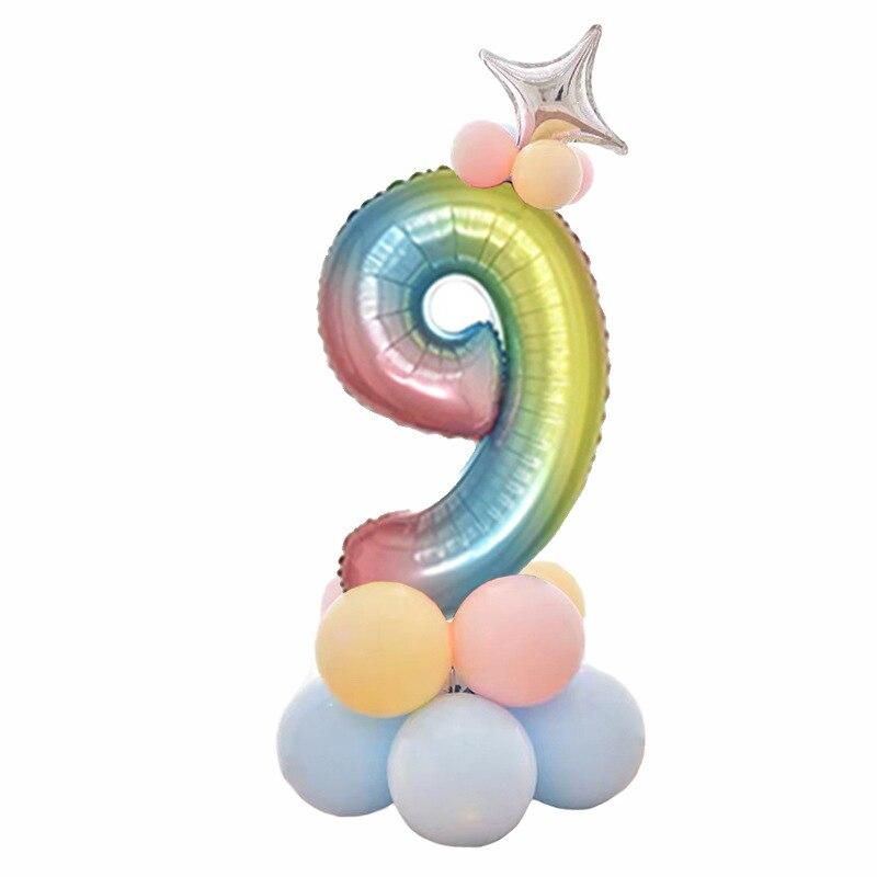 32 дюймов фольга градиент воздушные шары в форме цифр Набор цифр шар с днем рождения воздушные шары вечерние украшения дети мультфильм шляпа игрушка - Цвет: 9