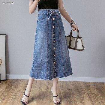 New Arrivals Summer Single Breasted A line Denim Skirts Women 2019 Fashion Blue Streetwear Pencil Long Jeans Skirt Femme girls single breasted denim skirt