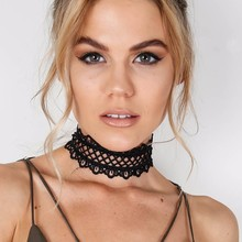 Sexy hollow out lace black choker necklace Short punk vintage necklace with chain Chic daisy flower necklace