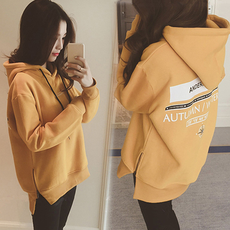 Winter Sweatshirts For Pregnant Women Thick Plus Velvet Tops Maternity Clothes Warm Sweatershirt Loose Pregnancy Oversize Hoodie