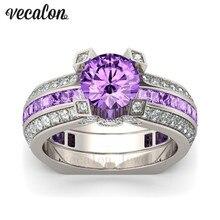 Vecalon Luxury Female Engagement ring Purple 5A zircon Cz 925 Sterling Silver Birthstone wedding Band ring Set for women men