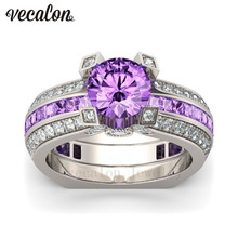 Vecalon Luxury Female Engagement ring Purple 5A zircon Cz 925 Sterling Silver Birthstone wedding Band ring Set for women men