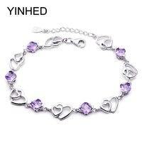 Yinhedロマンチックなダブルハート紫水晶ブレスレット925スターリングシルバージュエリーブレスレット用女
