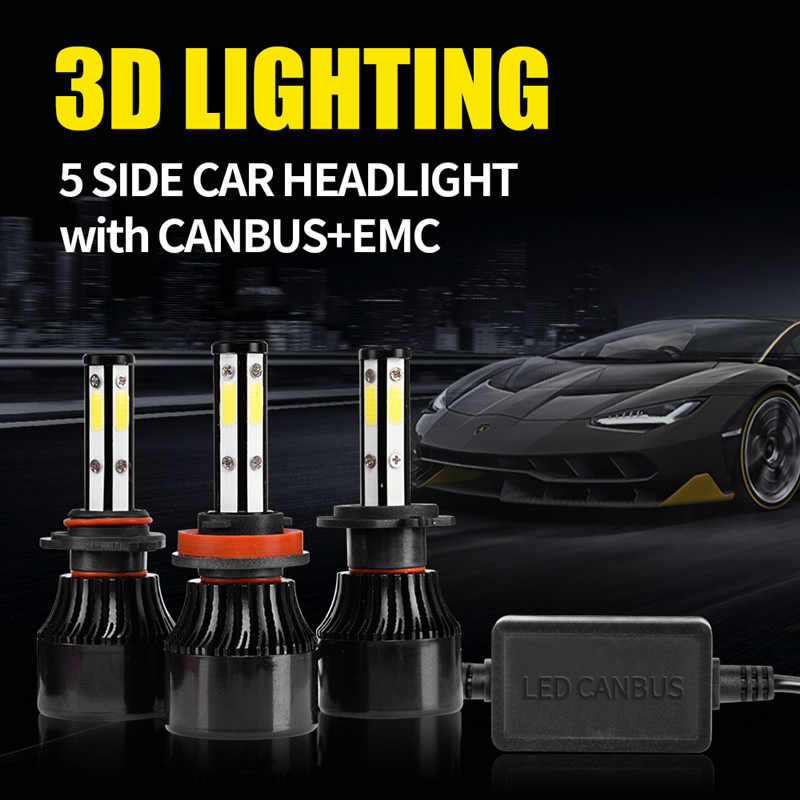 Inlong 5 Sides 18000LM H7 Car LED Headlight No Error H11 Led Canbus Headlmp Bulb H4 H8 H9 9005 9006 100W Auto Fog Lights 12V 24V