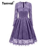 Tonval Gorgeous Vintage Floral Lace Dress Women Long Sleeve Sexy V Neck Evening Party Dresses Autumn