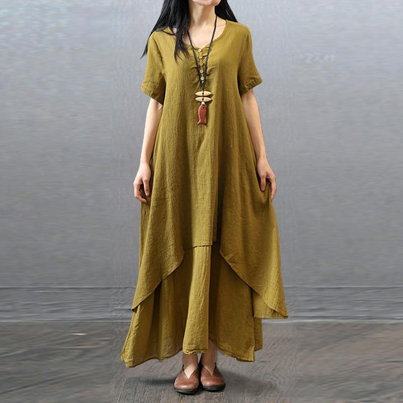 Summer Women Ladies Pastorable Rural Casual Loose Short Sleeve Long maxi Dresses