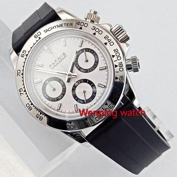 Luxury 39mm PARNIS Quartz men's watch Full Chronograph silver white dial luminous sapphire glass stop watch men W2695