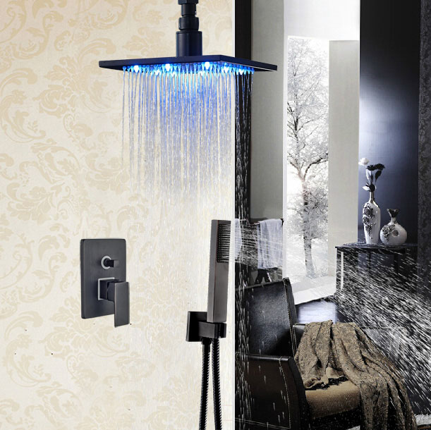 Ceiling Mount Oil Rubbed Broze 16-in Shower Set Bathroom Single Lever Tap Exposed Shower Faucet Luxury