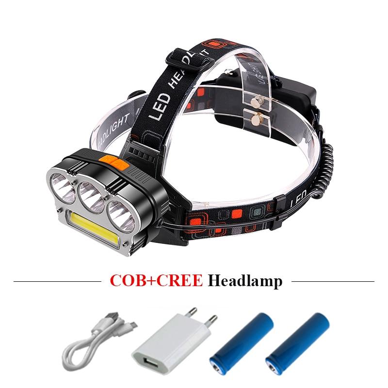 LED žarulja usb farova COB xml T6 glava svjetiljke lanterna zoom farova linterna glava kampiranje 18650 punjiva baterija