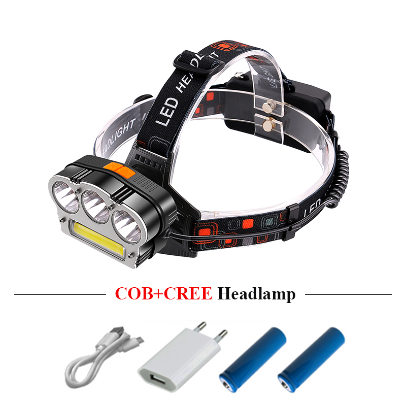 faro led usb faro COB xml T6 lámpara principal lanterna zoom faro linterna cabeza antorcha camping 18650 batería recargable