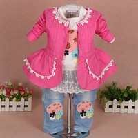 2019 new girls clothes set 3pcs kids set baby girl clothing sets for birthday jacket+t shirt+jeans clothing set