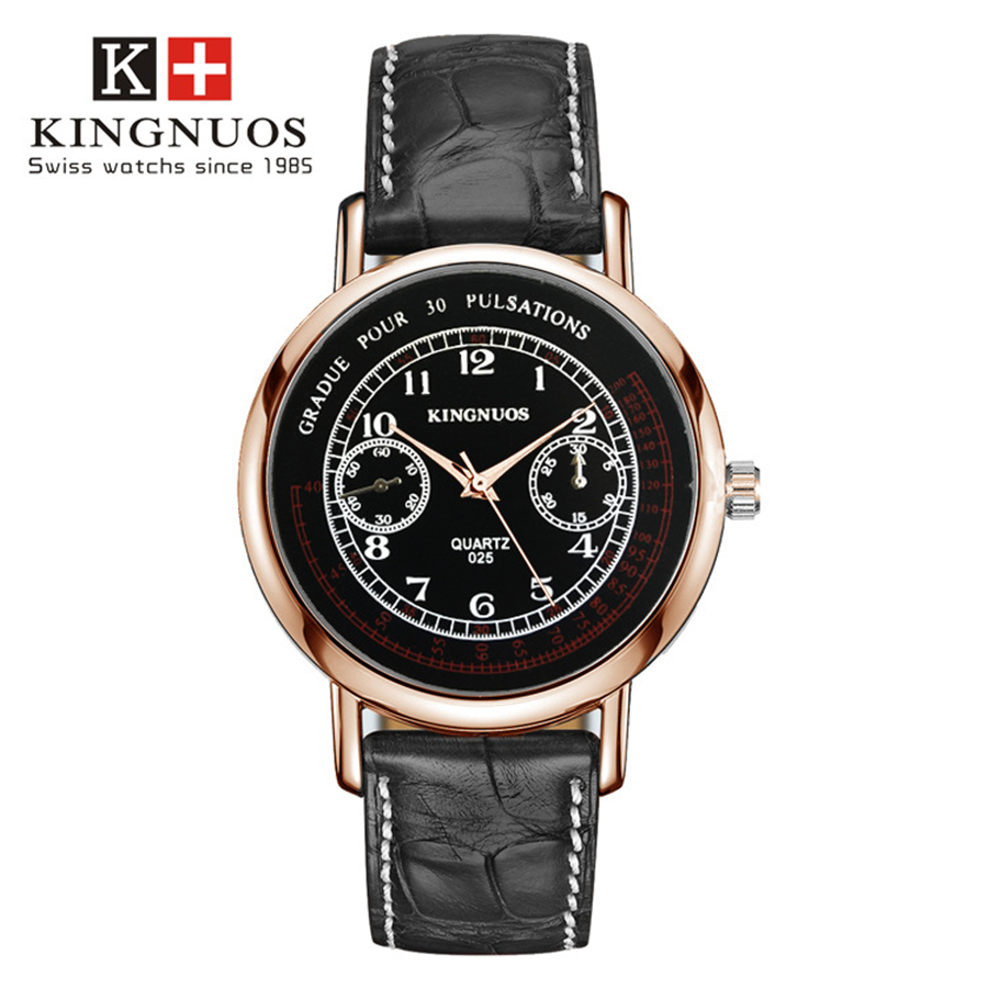 Kingnuos men wristwatch luxury brand quartz watches military style dial band leather business for Kingnuos watch
