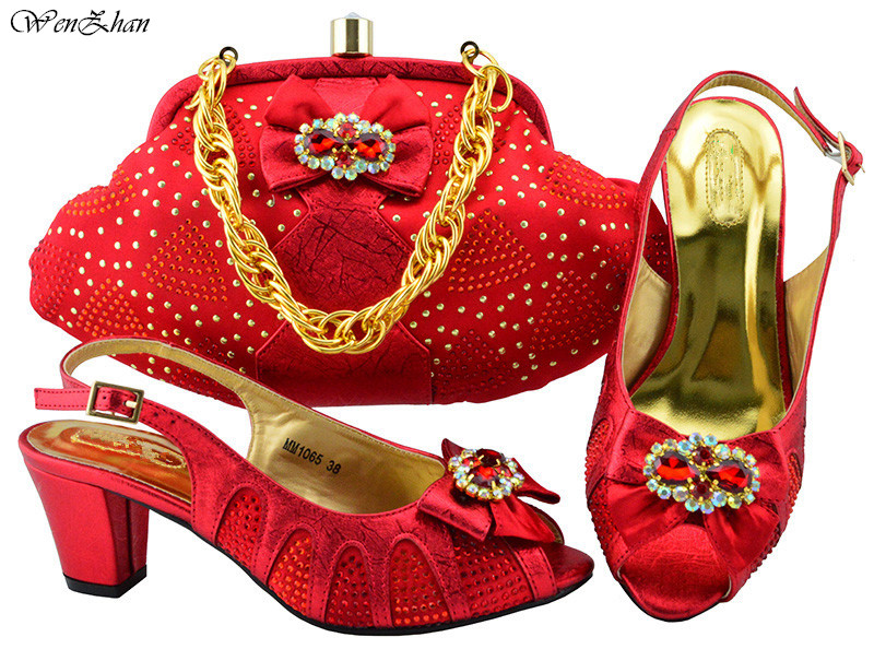 Red Italian Ladies Shoe and Bag Set Decorated With Butterfly-knot Matching Shoes and Bags for African Party High Quality B86-12 цены онлайн