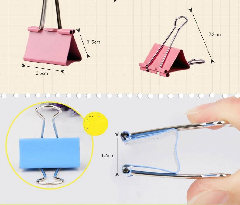 [4Y4A] 1box  Metal Binder 50mm 41mm 32mm 25mm 19mm 15mmColorful Metal Binder Clips Paper Clip Office Stationery Binding Supplies deli new colorful candy paper clips 200pcs a barrels office stationery metal clips box pin binding supplies learn student clips