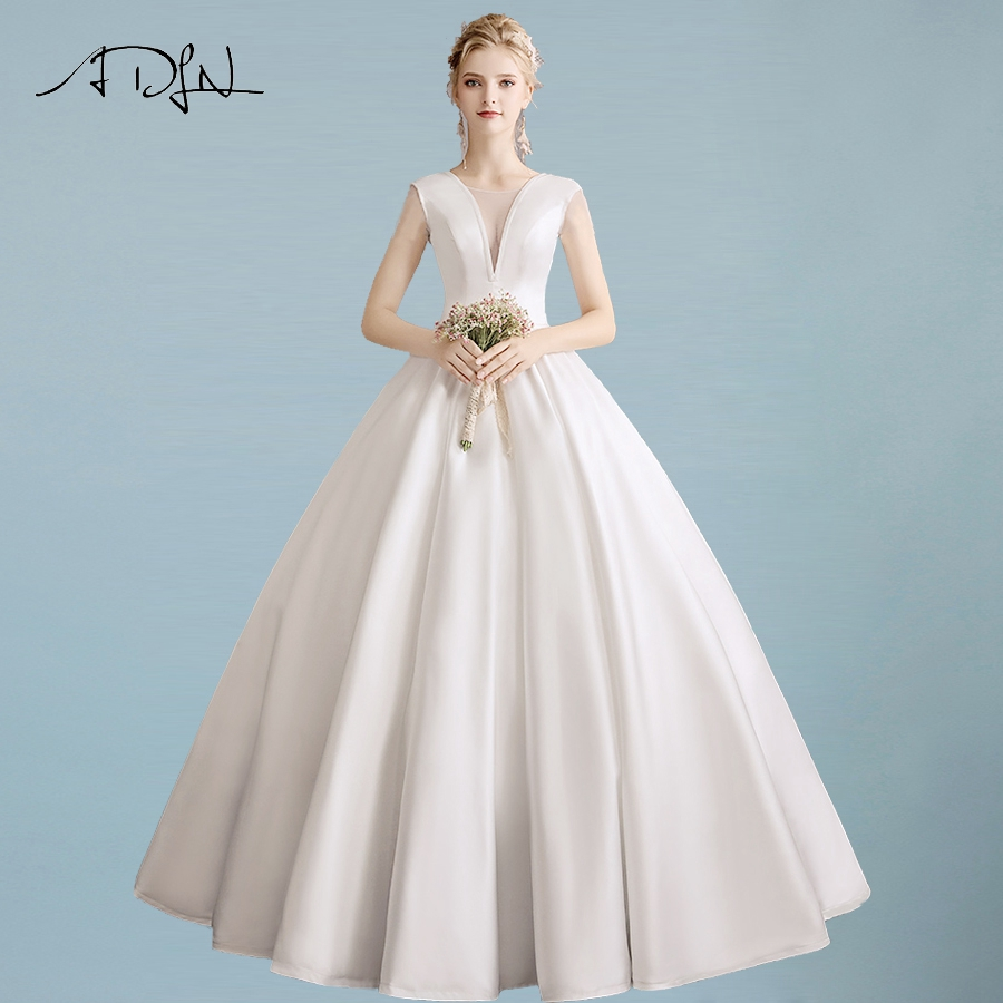 ADLN Sexy V neck Satin Simple Wedding Dresses Floor Length Ball Gown Plain Pockets Wedding Dress