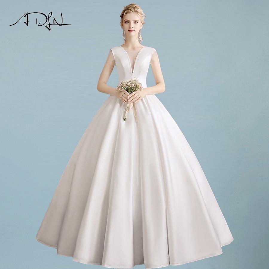 ADLN Sexy V neck Satin Simple Wedding Dresses Floor Length Ball Gown Plain Pockets Wedding Dress