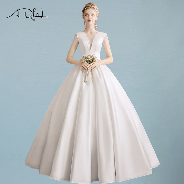 ADLN Sexy V-neck Satin Simple Wedding Dresses Floor Length Ball Gown Plain  Pockets Wedding Dress Back Lace-up Robe De Mariage 939bb9d03e75