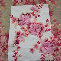 Francuski 3D Kwiat Koronki Tkaniny Netto 2017 Ostatnie Afryki Koronki tkaniny Na Nigeryjski Suknia Ślubna Różowy Tiul Koronki Tkaniny Do Szycia 669