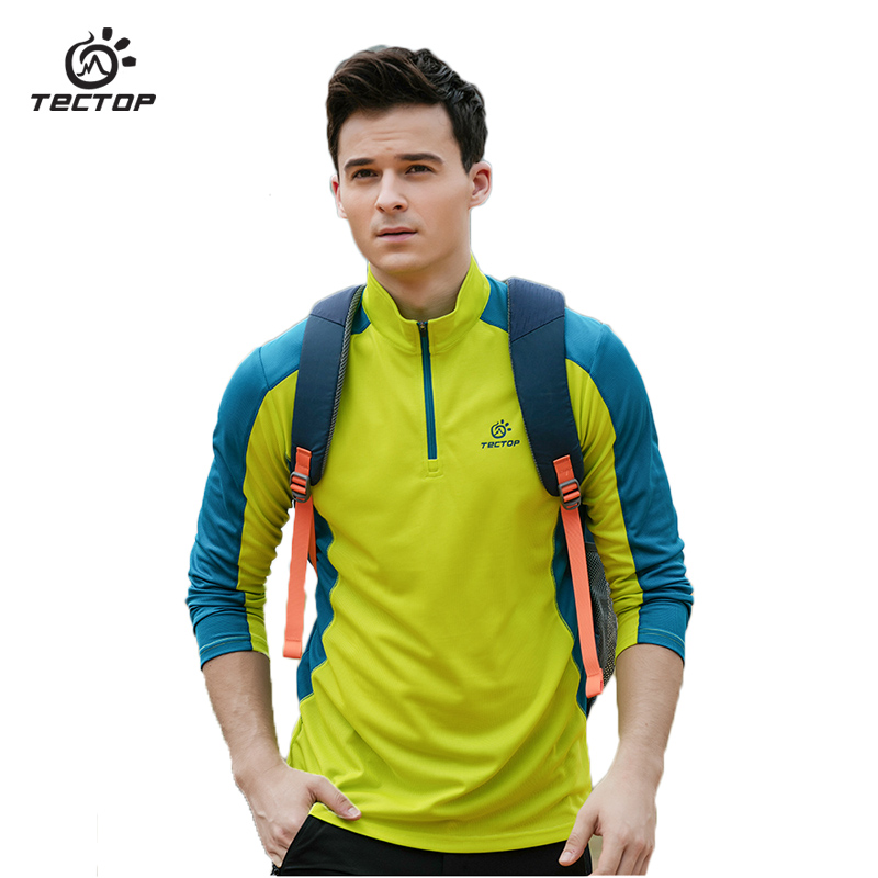 Temperate Tectop Spring Outdoor Running Long Sleeve T Shirt Hiking Breathable Sport Sweatshirt Camp Fishing Men Quick Dry T-shirt
