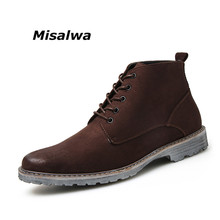 Misalwa New Style Suede Leather Casual Boots For Men Lace-up Leisure Ankle Chelsea Boots Men's Brown Botas Masculina Free ship