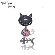 New Arrival Cute Enamel Brooch Pins Fashion 2017 Jewelry  Zinc Alloy Cat&Fish Brooches Dress Accessories For Women Brooch
