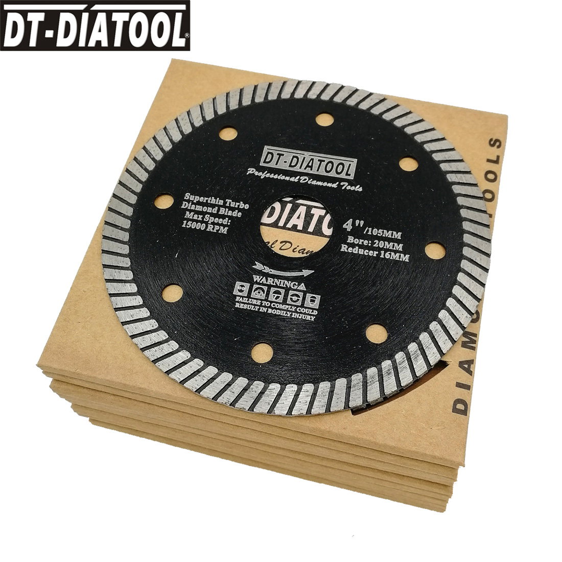 DT-DIATOOL 10pcs/pk Dia 105mm/4inch Diamond Super Thin Saw Blades Dry Or Wet Cutting Disc For Ceramic Tile Granite Bore 20mm