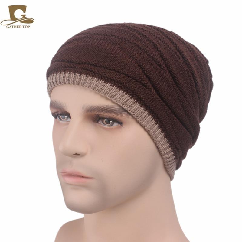 New Men Winter Knit Beanie Skull Ski Cap Slouchy Baggy Hat hot winter beanie knit crochet ski hat plicate baggy oversized slouch unisex cap