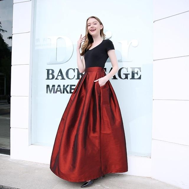 dcd497d77 Barato 2018 Moda Mujer Faldas de cintura alta plisado piso longitud ...