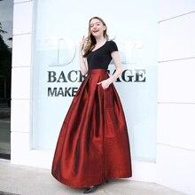 2020 Fashion Long Skirts Women Faldas High Waist Pleated Womans Floor Length Skirt Plus Size Elastic Elegant Ladies Jupe Skirts